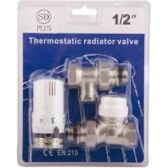 Комплект кранов с термоголовкой радиаторный SD Plus SD353 прям. 1/2''