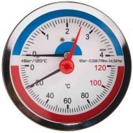 Термоманометр боковое подключение SD Plus SD173 120°C 0...4 бар