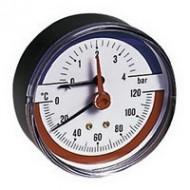 Термоманометр горизонтальный (задние подкл.) Emmeti Fiv 80мм