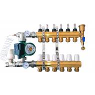 Коллектор для теплого пола Gross 8504 латунь в сборе с насосом с расходомерами (полная комплектация)
